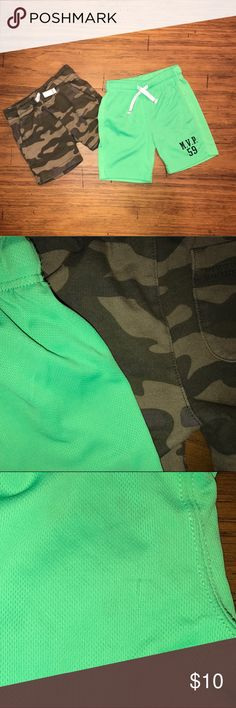 Boys Shorts Bundle EUC camouflage shorts. GUC neon green basketball shorts. The basketball shorts have a small snag on the back, other than that, they're in great condition. smoke free pet friendly home. Carter's Bottoms Shorts