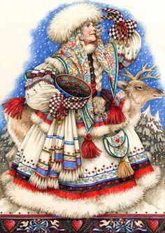 Bilderesultat for anne yvonne gilbert illustrator Ukrainian Christmas, Noel Christmas, Father Christmas, Vintage Christmas Cards, Christmas Pictures, Christmas Mantles, Victorian Christmas, Primitive Christmas, Retro Christmas