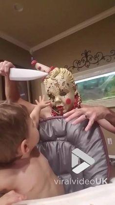 Baby has no fear of killer clown