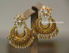 22 carat gold antique finish Nakshi work chandbali earrings studded with polki diamonds. Indian Jewellery Design, Latest Jewellery, Jewelry Design, Designer Jewelry, Designer Earrings, Indian Wedding Jewelry, Bridal Jewelry, Antique Earrings, Antique Jewelry