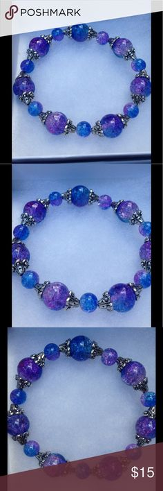 """Blue and Purple Sparkly Glass Stretch Bracelet This beautiful bracelet is made with sparkling blue and purple glass beads. Made with high quality elastic, this piece will stretch to fit up to an 8"""" wrist.   All PeaceFrog jewelry items are handmade by me! Let me know if you need a different size. Take a look through my boutique for coordinating jewelry and more unique creations! PeaceFrog Jewelry Bracelets"""