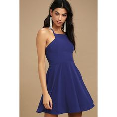 Call to Charms Royal Blue Skater Dress ($54) ❤ liked on Polyvore featuring dresses, blue, flared skirt, royal blue skater dress, electric blue dress, skater skirt and flared dresses