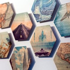 Take your décor to another level by placing photos on a hexagon wood print. Create a unique wood art display for your home or business. Diy Wand, Wood Wall Decor, Diy Wall Art, Wall Décor, Paper Wall Decor, Photo Wall Decor, Unique Wall Decor, Transférer Des Photos, Photos On Wall