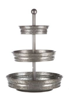 Complement the charming elegance of your home with a Galvanized Metal 3-Tier Tray Stand.
