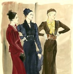 Various ensembles, designed by Elsa Schiaparelli (1890-1973)
