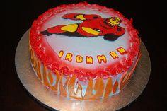 Ironman cake by jen_dsilva, via Flickr Iron Man Party, Ironman Cake, Birthday Cake, Birthday Parties, Cake Decorating, Party Ideas, Desserts, Cakes, Cake Ideas