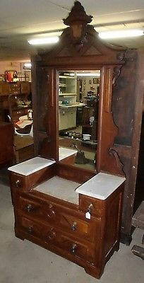 Antique Old Finish Walnut Victorian Drop Well Marble Top Dresser With Mirror 250 Mall Pinterest Antiquearble