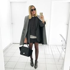 S h a d e O f G r e y #outfit #outfitoftheday • Manteau (new) #zara • Blazer (new) #zara • Pull (new) #zara • Blouse #cozete • Jupe #bash • Boots #susanna #chloe • Sac #trapeze #celine Mes deux achats d'hier montré dans la storie ❤️