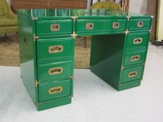 Kellly Green Lacquered Campaign Desk
