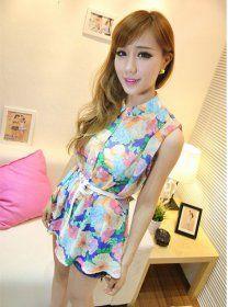J71467 Temperament Flowers Sleeveless Shirt [J71467] - $9.00 : China,Korean,Japan Fashion clothing wholesale and Dropship online-Be the most beautiful Lady