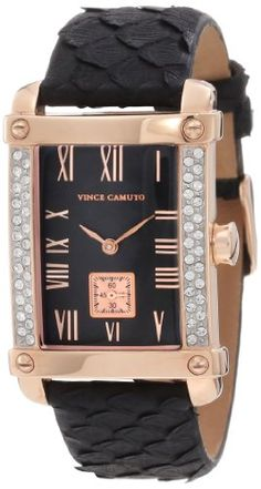 Vince Camuto Women%27s VC%2F5008RGBK Leather Swarovski Crystal Accented Rosegold-Tone Black Python Strap Watch