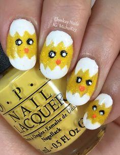 ehmkay nails: Easter Nail Art: Hatched Chick Nail Art with Flocking Powder