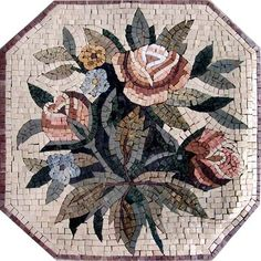 Perhaps too fancy?  It would appear as a rug, but really be smooth tile, most of it will be under a new cupboard, but not all!  Floral mosaic marble tile stone art floor wall insert