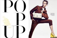 POP UP. Love the yellow text. Harpers Bazaar Nederland. Art Direction by Tara van Munster. #typography #type