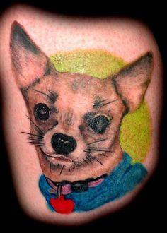 """I need a Daisy Mae tattoo tribute.  She literally saved my life.  """"Tattoo portrait of my Chihuahua Jose. He was my first dog and he's the best dog ever! :)""""  Photo Credit: Arielle Q.  #tattoo #dog"""