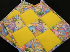 Bright Yellow Easter Quilted Potholders  Set by KraftyGrannysHome, $14.00