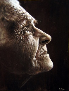 Oldperfil_by_Benbe another portrait painted by Spanish artist Rubén Belloso