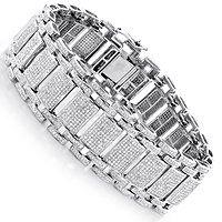 Mens Iced Out Pave Diamond Bubble Bracelet 8 ct