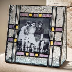 This #glass #photo #frame blends clear fluted and #vintage glass with rich #English #Muffle glass to create a vibrant, energetic feel to any decor. Find more sizes at Uncharted Visions!