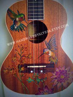 Custom Painted Ukulele by HandmadebyAlyssa on Etsy Ukulele Art, Ukulele Songs, Ukulele Chords, Violin Art, Ukelele Painted, Painted Guitars, Painted Pianos, Ukulele Design, Guitar Diy