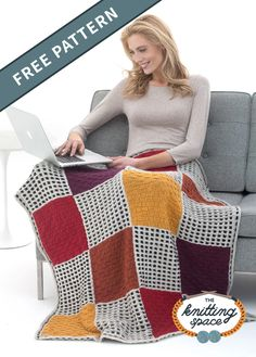 Enjoy your stay at home with this knitted slip-stitch afghan with beautifully colored panels. It's a huggable must-have for your favorite armchair or sofa at home. It makes for a nice handmade gift for friends. | Discover over 4,500 free knitting patterns at theknittingspace.com #knitpatternsfree #housewarmingpresents