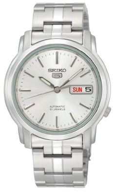 Seiko Men's SNKK65 Seiko 5 Automatic Stainless Steel Watch with Silver-Tone Dial ** Check out this great product.