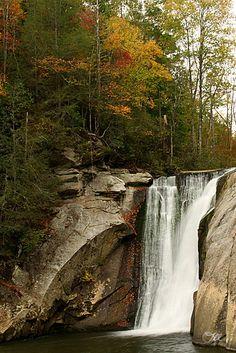 Elk River Falls, in Elk Park, North Carolina, is very impressive in terms of its sheer volume and very large plunge pool.