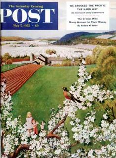 Saturday Evening Post - 1955-05-07: Harbinger of Spring (John Clymer)