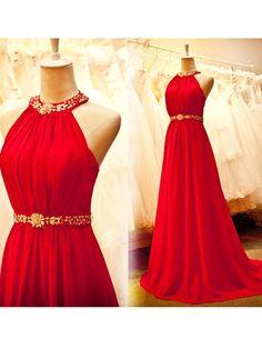 Neckholder Sweep Chiffon rote Abendkleid.Der Link:https://goo.gl/Zfi7lu