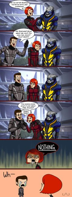 This is exactly what my playthrough of Mass Effect is like until I kill Kaiden off... Haha