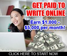 Work from home opportunity - Get paid to write online. Choose from lots of different writing options, such as essays, articles, blog posts, and more. Program comes with a FREE 7-day trial!