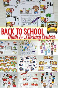 Math and Literacy Center for August & September Teaching Phonics, Math Literacy, Math Tutor, Literacy Stations, Guided Math, Kindergarten Activities, Literacy Centers, Back To School Activities, Kids Learning Activities