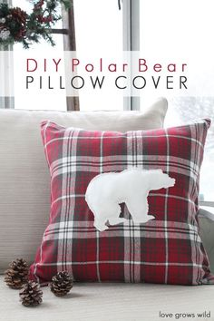 This adorable DIY Polar Bear Pillow Cover is easy to make and looks great all winter long!