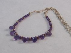 Teardrops of Amythest on Sterling Chain by ArtisanJewelrybyDD, $50.00