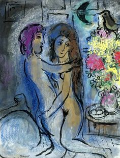Marc Chagall - Le Couple Bleu, c. 1950 Marc Chagall - The Blue Couple, 1950 Marc Chagall, Chagall Paintings, Jewish Art, Art For Art Sake, French Artists, Pablo Picasso, Oeuvre D'art, Lovers Art, Art Forms
