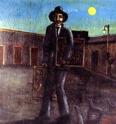 """Salvador Valero  """"El ladrón de cuadros""""  Oleo sobre tela enmarcada  50 X 47cm 1971"""