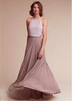 a69d6c3b1e2 Magbridal Amazing Chiffon Halter Neckline Floor-length A-line Bridesmaid  Dresses