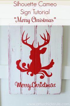 Silhouette Merry Christmas Sign Tutorial - Complete -  #ad #sponsored #silhouette #merrychristmas #sign #diy #ad #sponsored #blackfriday http://artsychicksrule.com