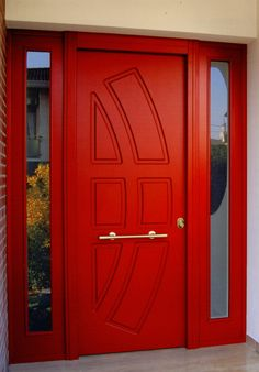 Red Security Front Door with Strong Sidelights Security Door, E Design, Armoire, Doors, Furniture, Home Decor, Strong, Google, Clothes Stand