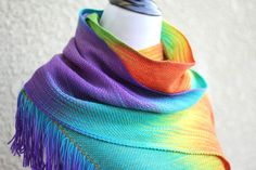 "Hand woven scarf in #rainbow colorway. There are a lot of different shades of green, blue, red and purple. Measures: L: 78"" with 6"" fringe on both ends W: 11"" Care instructi... #kgthreads #accessories #cozy #fall #fashion #gay #gift #gradient #unisex #women #wrap ➡️ http://jto.li/ggVxB"