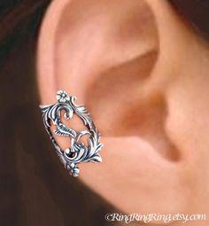 Hummingbird ear cuff Sterling Silver earrings by RingRingRing