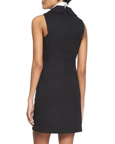 -6704 Michael Kors Collection  Sleeveless Double-Breasted Shirtdress, Black Turtleneck Dickie, White