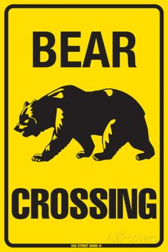 Tin Caution Bear Crossing Danger sign is USA made from high grade aluminum. Tin Signs, Wall Signs, Teddy Bear Cartoon, Teddy Bears, Outline Pictures, Lodge Decor, Bear Art, Sale Poster, Aluminum Metal