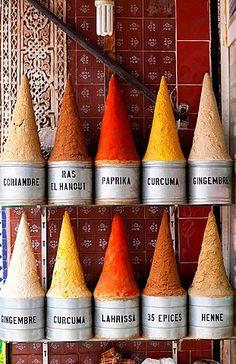 Piles of spices - Spices souk, Marrakech, Morocco                                                                                                                                                      More