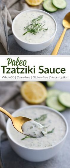 Paleo Tzatziki Sauce is dairy-free, Whole30-friendly and vegan-optional. | whole30 sauce recipes | dairy free dips | vegan dip recipe | paleo dip recipes | homemade tzatziki sauce | healthy tzatziki sauce || The Real Food Dietitians #whole30recipe #whole30approved #tzatzikisauce