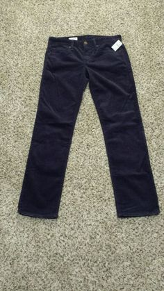 Womens 26P Gap 1969 Corduroy Pants Real Straight Navy Blue NWT Petite 1% Spandex #GAP #Straight #Corduroys