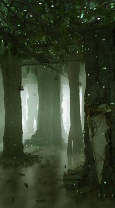 Lǫgberg es war das zentrum von berlin und hier, hoch oben in den kronen der gigantischen bäume, befand sich der hafen. geschäftiges treiben herrschte an jedem der breiten stämme, die mit treppen, fenstern und eingängen gespickt waren. christopher fragte sich unwillkürlich, wie sehr die bäume wohl im lauf der zeit ausgehölt worden waren und stellte sich einen schrecklichen moment lang den ohrenbetäubenden krach und die auf ihn zukommenden blättermassen vor, wenn einer der bäume nachgeben…