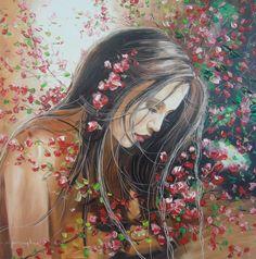 Girl in blossoms Romantic Series, Watercolor Flower, Impressionist Art, Impressionism, Woman Painting, Asian Art, Female Art, Flower Art, Fantasy Art