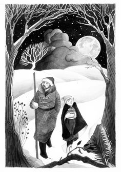 Black and white illustration for The Great Book Foundation. By Helen Cann.