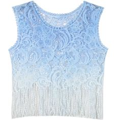 Choies Blue Dip Dye Crochet Sheer Lace Fringe Cropped Cvest (285 MXN) ❤ liked on Polyvore featuring tops, blue, sheer lace top, macrame top, crop top, fringe top and sheer lace crop top